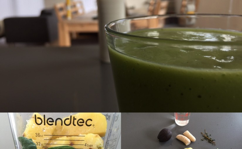 Ananas-avocado smoothie med mynte